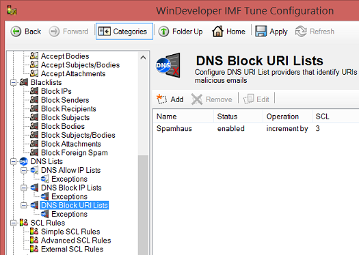 Get DNSBL URI Filtering in IMF Tune v7 RC