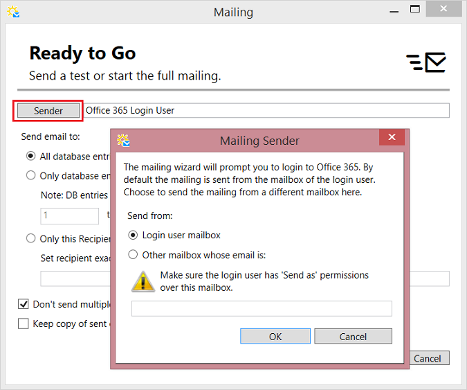 Setting email sender option 2