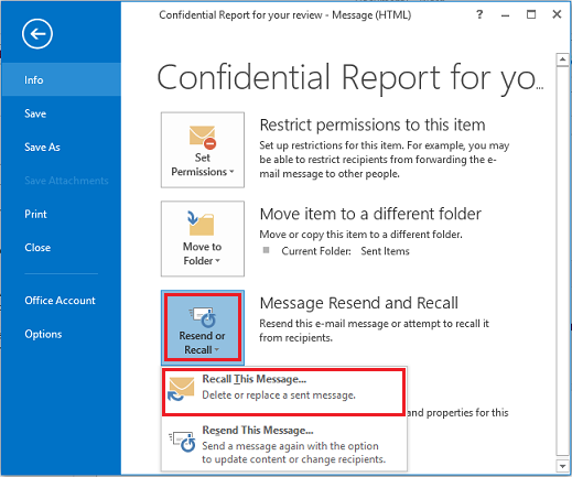 office 365 recall email